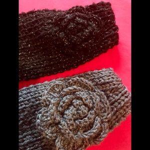 2 Crochet Headbands/Ear Warmers, Black&Grey